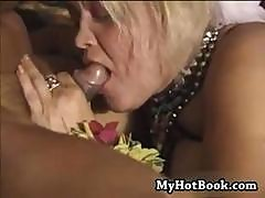 Slutty Old Blonde Granny Sunshine Blue Eats His Tool In The Restaurant