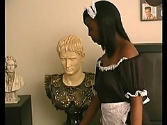 Ebony maid give white dude a hand job