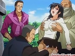 Busty hentai chick gets threesome fucked