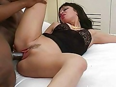 Slutty brunette housewife fucks hung black cock