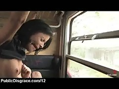 Bound and gagged babe gangbanged in the train