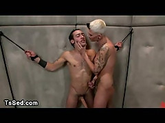 Huge cock bound guy fucked by tranny with huge cock