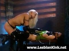Hot Blonde Lesbian Mistress Plays With Her Slave's Pussy And Ass