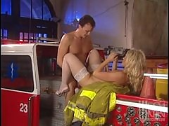 Horny Blonde Firefighter Getting Fucked On the Firetruck