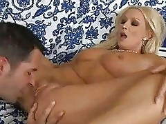 Tight ass blonde milf rides hard bazooka on bed
