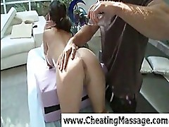 Sweety babe gets nailed by masseu...