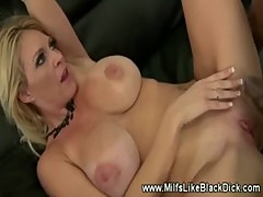 Busty milf gets fucked in shoes black cock