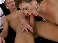 Grandma enjoying nasty sex with young man