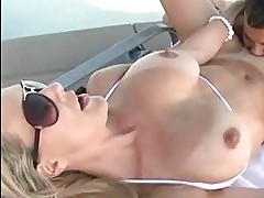 Big tit blonde pussy licked outdoors