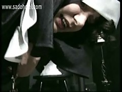 Beautiful slave nun got her panties down and spanked on her