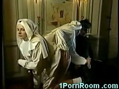 Naughty nuns sucking cock and fisting wet pussy