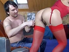 Randy babe in silky red stockings