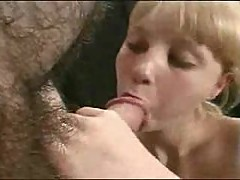 Blonde lovingly sucks on his big cock