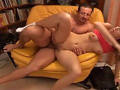 Cute brunette is shaved for older man