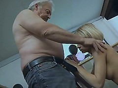 Big breasted blonde babe sucks old mans huge schlong