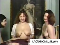 Three Mature Women Have A Lactating Party Filling Their Glasses With Warm Milk