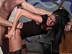 Young brunette in stockings gets screwed from behind