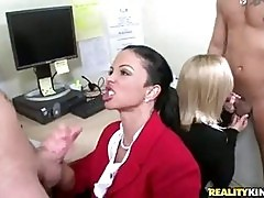 Filthy secretary Jewels sucking on the bosses cock