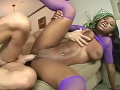 Black slut in fishnet lingerie fucked by white guy