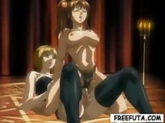 Brunette Hentai Is With A Shemale Hentai And Gets Drilled