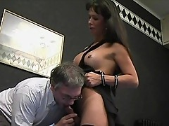 Brunette tranny feasts on delectable cock