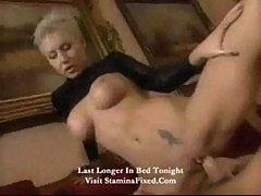 Busty short hair blonde likes anal
