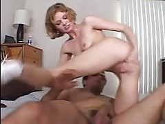 Short haired blonde in sexy lingerie sucks and fucks in bedr...