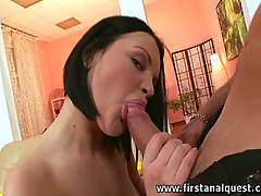 Shorthaired brunette gets her virgin ass uncorked.