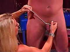 Blonde Mistress Smokes And Teases And Tortures Her Man Slave