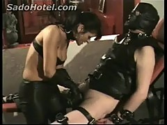 Mistress use nettles candle and penis pump on cock of dirty