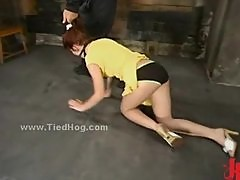 Redhead slut tied and used like a sex slave and learned how to su