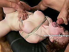 Redhead with perky nipples abused and forced to fuck in brutal group sex in horny video