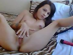 Young Skinny Cutie With Small Boobies Stuffs Her Ass With A Dildo
