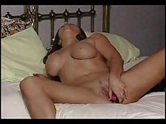 Busty cutie strips for masturbation