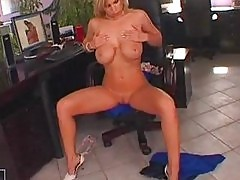 Heavy chested blonde in sexy undies and high heels teasing i...
