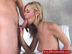 Blonde gets spanked nd hard fucked
