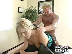 Cute Blonde Bends Over So The Principal Can Fuck Her At Work