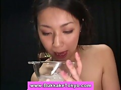Asian bukkake cutie drooling sperm