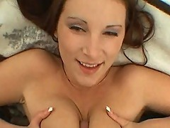 Hot brunette whore gets tits fucked