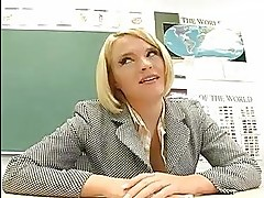 Horny blonde teacher toys her dripping wet snatch