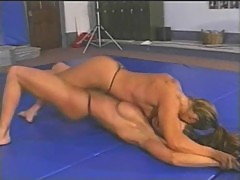 Fitness models topless wrestling part 3