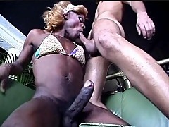 Ugly Black Tranny Bitch Fucks Latin Guy