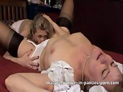 Two Mature Lesbians Still In Their Slips And Panties Eat Pussy