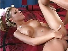 Slutty blonde Aubrey Adams gets real fucked hard in she real...