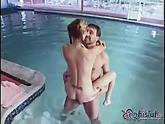 Crystal Ray Sucks His Cock And Gets Fucked Right By The Pool