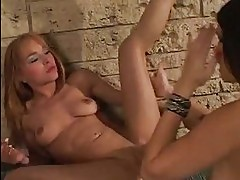 Steaming lesbian Cytherea and friend lick pussy and dip dild...