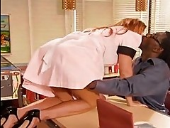 Wicked waitress Janet Mason slurps a black dick and takes it...