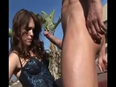 Jenna Presley sucks on cock outdoors