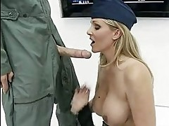 Slutty officer Julia Ann is calming the Generals throbbing c...