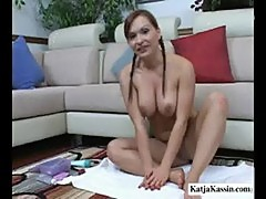 Katja kassin - pigtailed pornstar and her cute feet